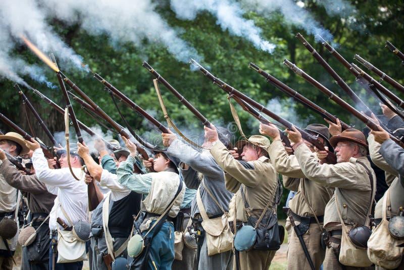Ameryka?ski wojny domowej bitwy Reenactment obraz stock