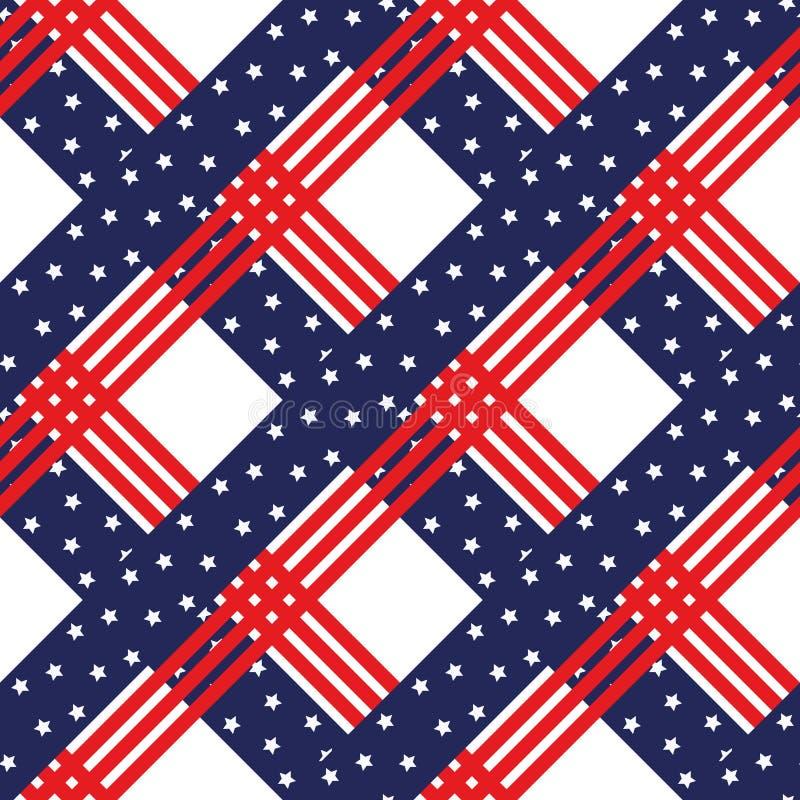 Ameryka?skie patriotyczne gwiazdy i lampasa bezszwowy wz?r w jaskrawej czerwieni, b??kicie i bielu, Dnia Niepodleg?o?ci wektoru t ilustracja wektor