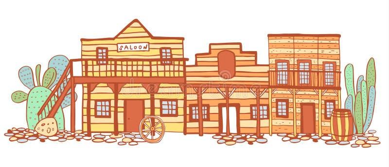Ameryka Stary Zachodni grodzki uliczny widok Ręka rysująca koloru konturu nakreślenia doodle wektoru ilustracja royalty ilustracja