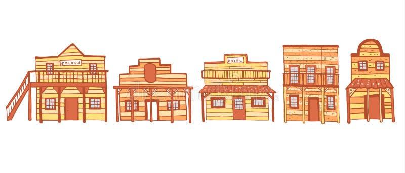 Ameryka Starzy Zachodni grodzcy domy Konturu koloru nakreślenia doodle wektoru ręka rysująca ilustracja ilustracji