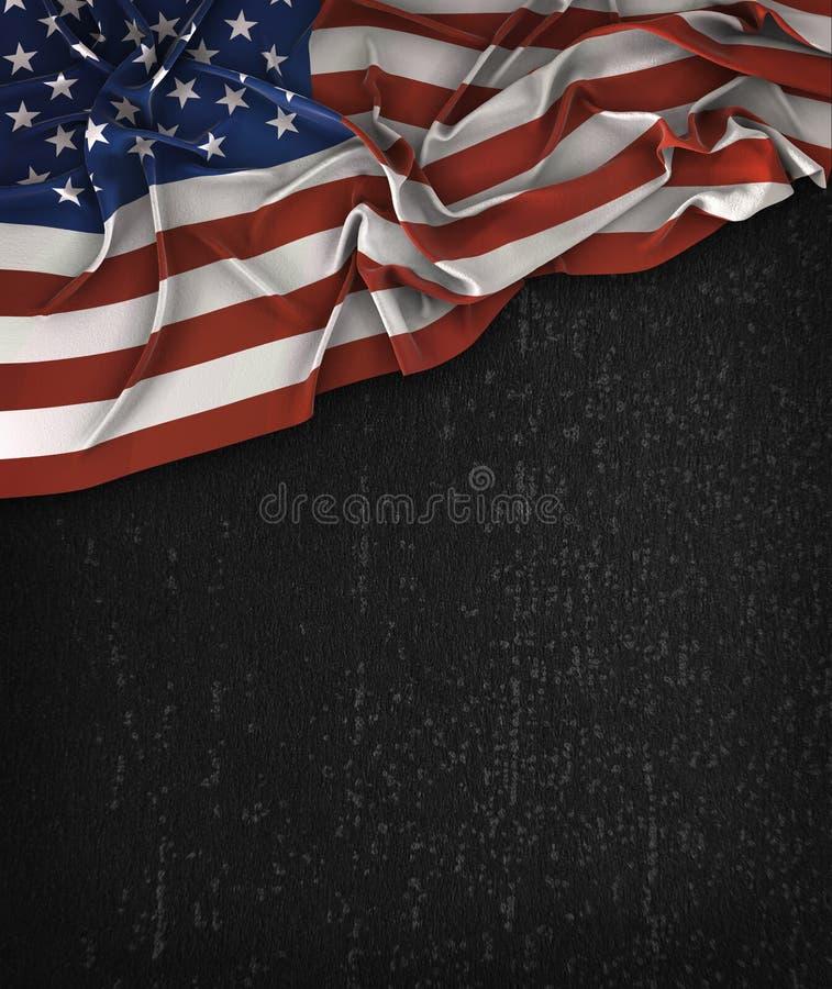 Ameryka usa flaga rocznik na Grunge czerni Chalkboard Z przestrzenią royalty ilustracja