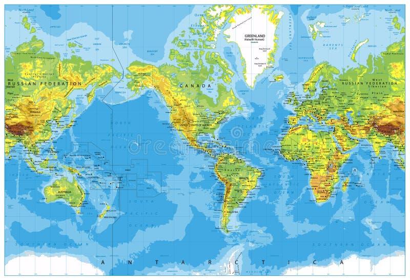 Ameryka Ześrodkowywał Fizyczną Światową mapę ilustracja wektor
