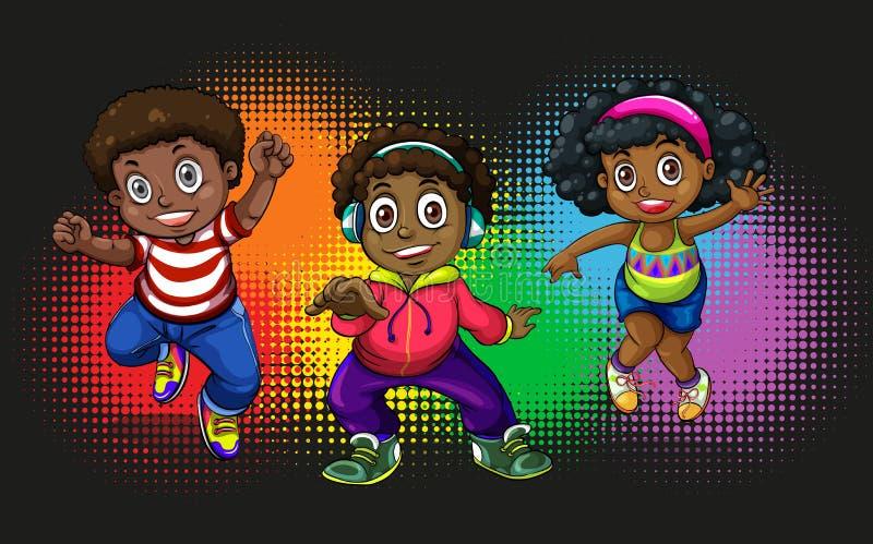 Amerykan afrykańskiego pochodzenia dzieci tanczyć royalty ilustracja