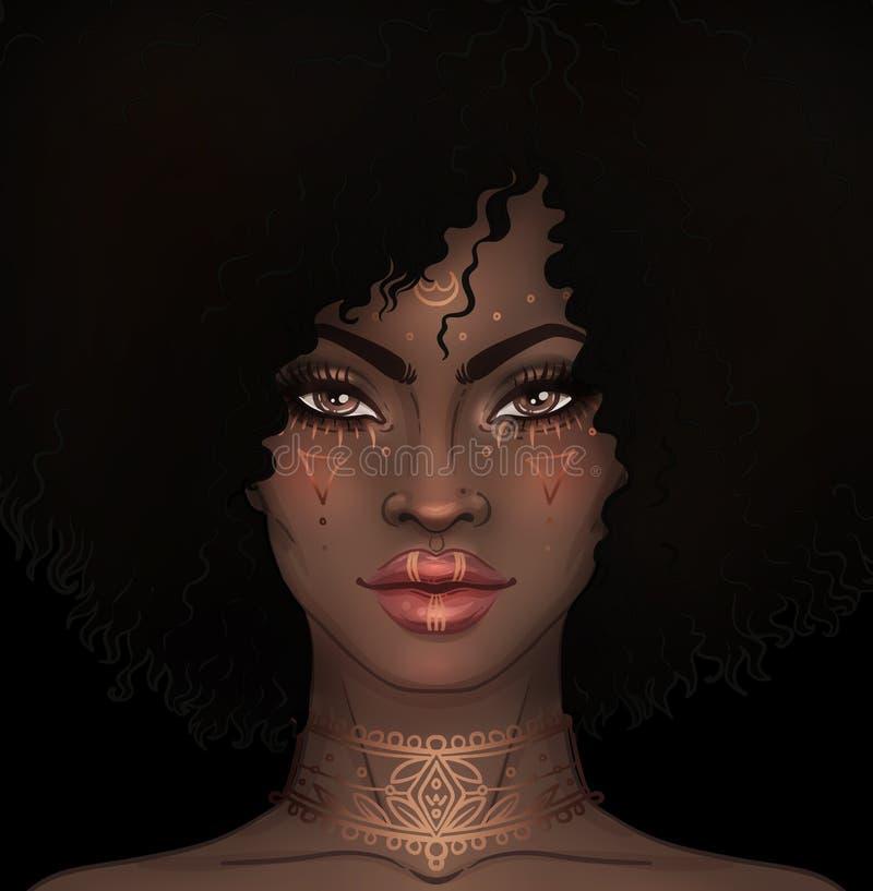 Amerykanin Afrykańskiego Pochodzenia ładna dziewczyna Raster ilustracja murzynka royalty ilustracja