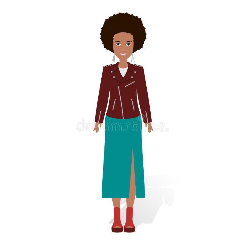 Amerykanin Afrykańskiego Pochodzenia ładna dziewczyna Wektorowa ilustracja murzynka z afro fryzurą royalty ilustracja