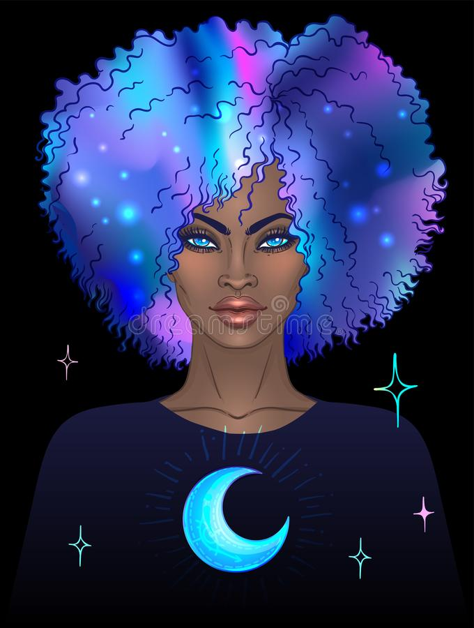Amerykanin Afrykańskiego Pochodzenia ładna dziewczyna Wektorowy Ilustracyjny Tajemniczy bla ilustracja wektor