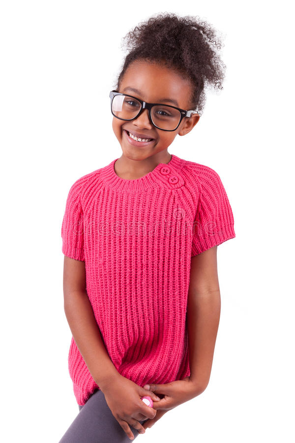 Amerykanin afrykańskiego pochodzenia śliczna młoda dziewczyna obraz stock