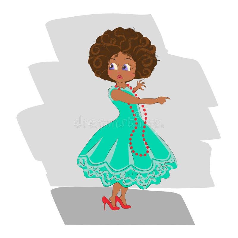 Amerykanin Afrykańskiego Pochodzenia Śliczna mała dziewczynka ilustracja wektor