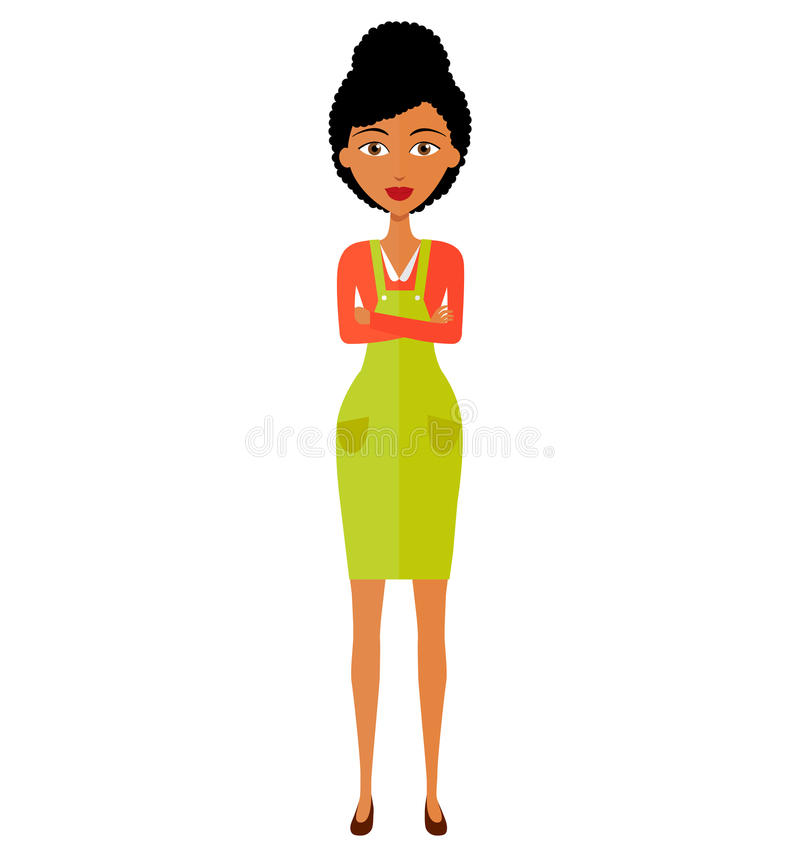 Amerykanin Afrykańskiego Pochodzenia animaci damy biznesowa dziewczyna z rękami krzyżował odosobnionego na białym tle Wektor Odiz obrazy stock