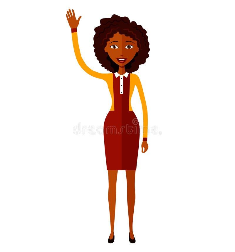 Amerykanin afrykańskiego pochodzenia animaci kobieta macha jej ręki mieszkania kreskówkę fotografia royalty free