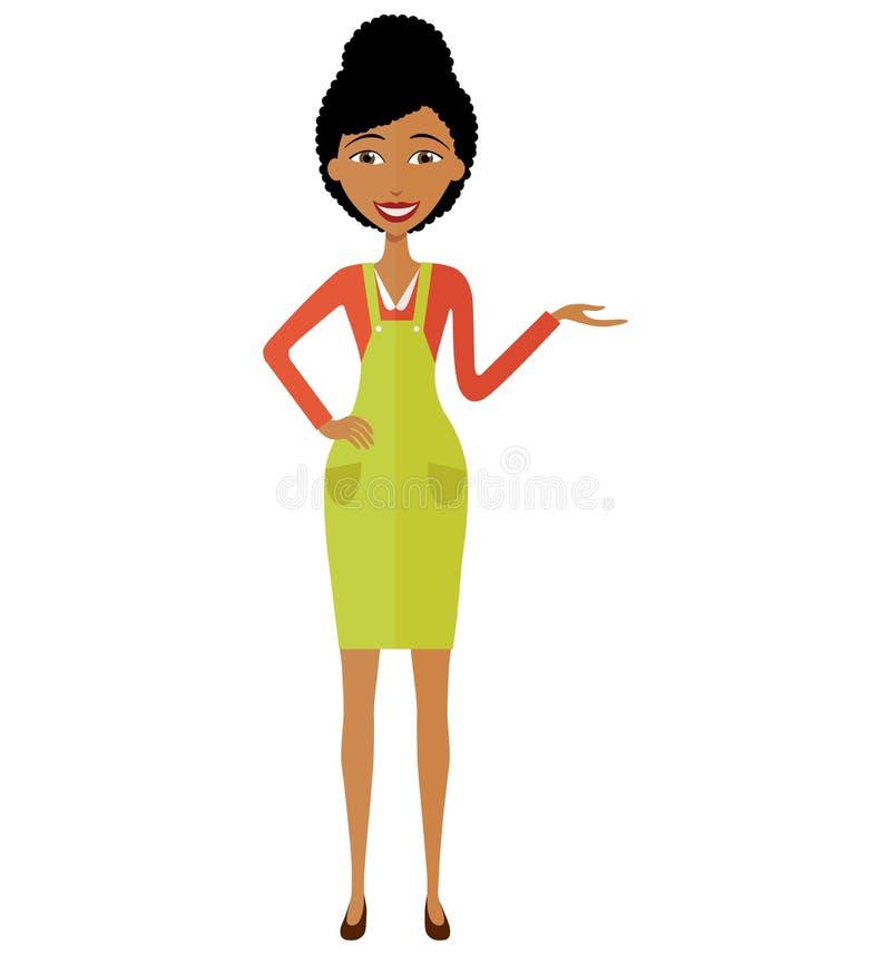 Amerykanin afrykańskiego pochodzenia animaci kobiety dziewczyna przedstawia coś kreskówka wektoru ilustracja pojedynczy białe tło zdjęcie royalty free
