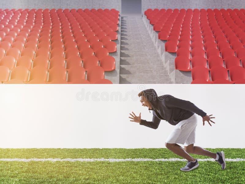 Amerykanin Afrykańskiego Pochodzenia atlety bieg na boisko do piłki nożnej, tonującym ilustracja wektor