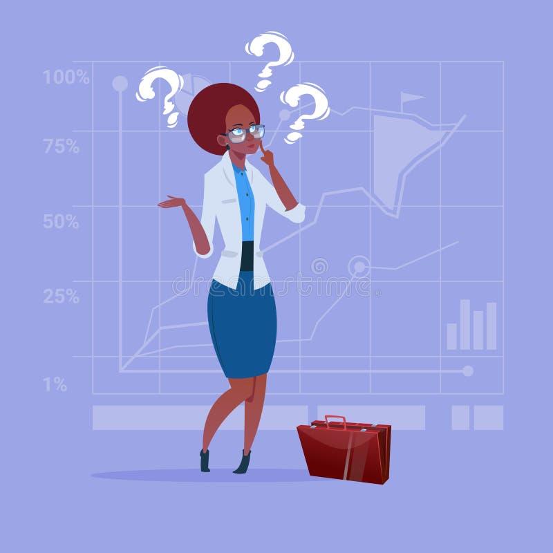Amerykanin Afrykańskiego Pochodzenia Biznesowa kobieta Rozpamiętywa Problemowego pojęcie Z znakiem zapytania ilustracja wektor
