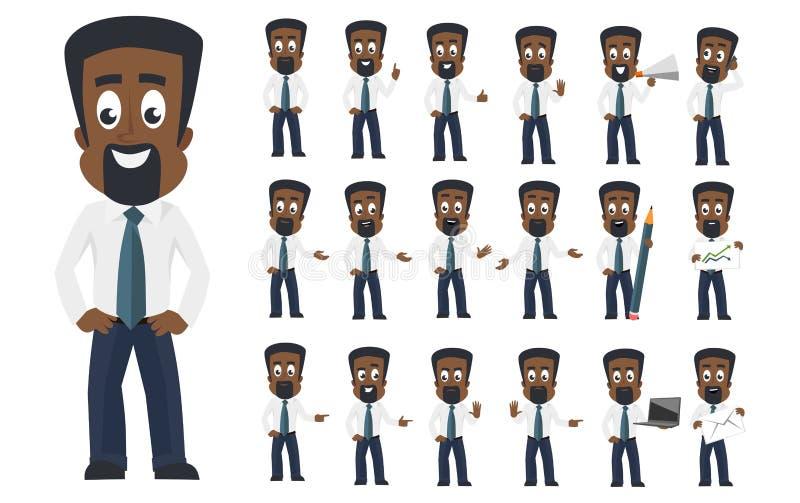 Amerykanin afrykańskiego pochodzenia biznesowego mężczyzny charakter z różnymi twarzowymi emocjami i pozami Kreskówka charakteru  ilustracja wektor