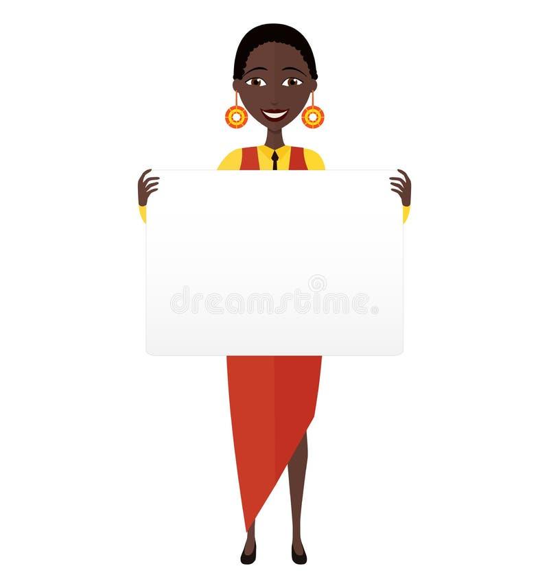Amerykanin Afrykańskiego Pochodzenia biznesowej kobiety mienia znak lub sztandar odizolowywający obraz stock