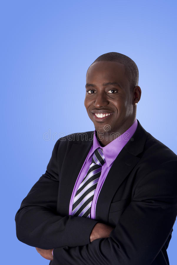 amerykanin afrykańskiego pochodzenia biznesowy szczęśliwy mężczyzna ja target2343_0_ obrazy royalty free
