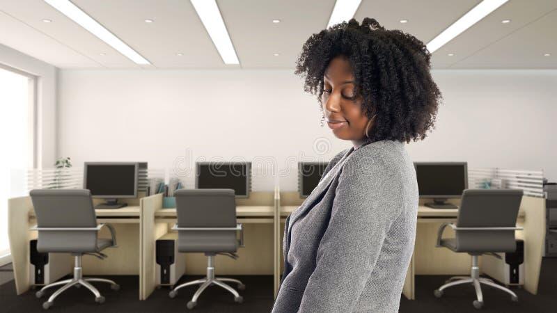 Amerykanin Afrykańskiego Pochodzenia bizneswoman W Biurowy Przyglądający Nieśmiałym Zaaferowany lub fotografia royalty free
