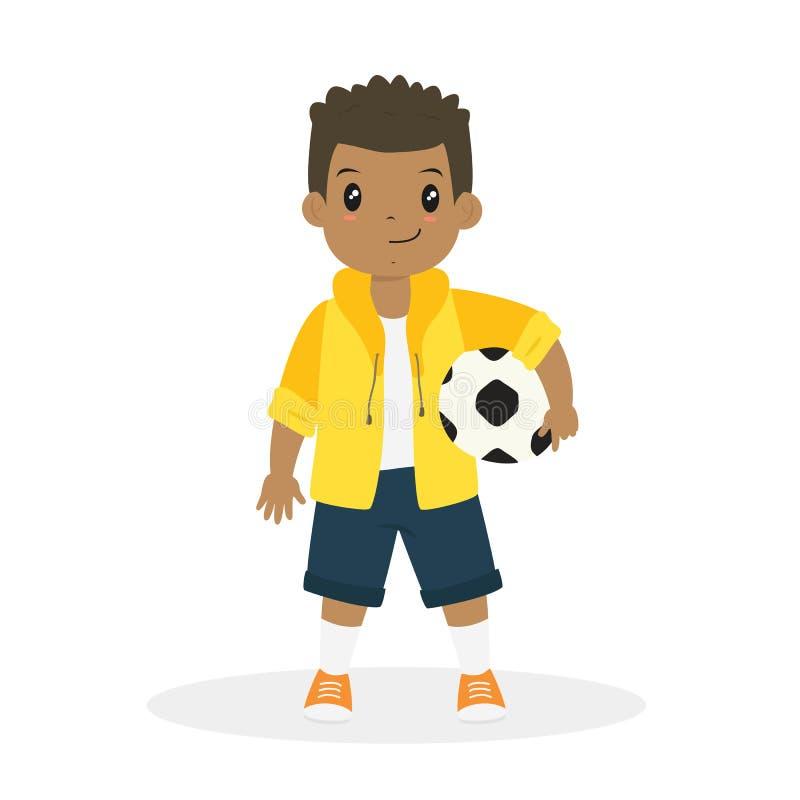 Amerykanin Afrykańskiego Pochodzenia chłopiec Trzyma piłki nożnej piłki kreskówkę Wektorowa ilustracji