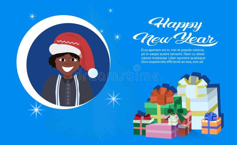 Amerykanin afrykańskiego pochodzenia chłopiec twarzy avatar nowego roku wesoło bożych narodzeń pojęcia teraźniejszości prezenta p royalty ilustracja