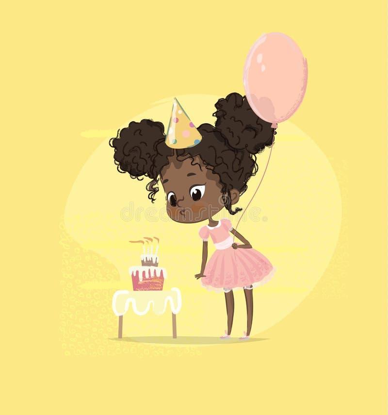 Amerykanin Afrykańskiego Pochodzenia dzieciaka dziewczyny ciosu Urodzinowego torta świeczki mienia balon Śliczna dziewczynka Podm ilustracji