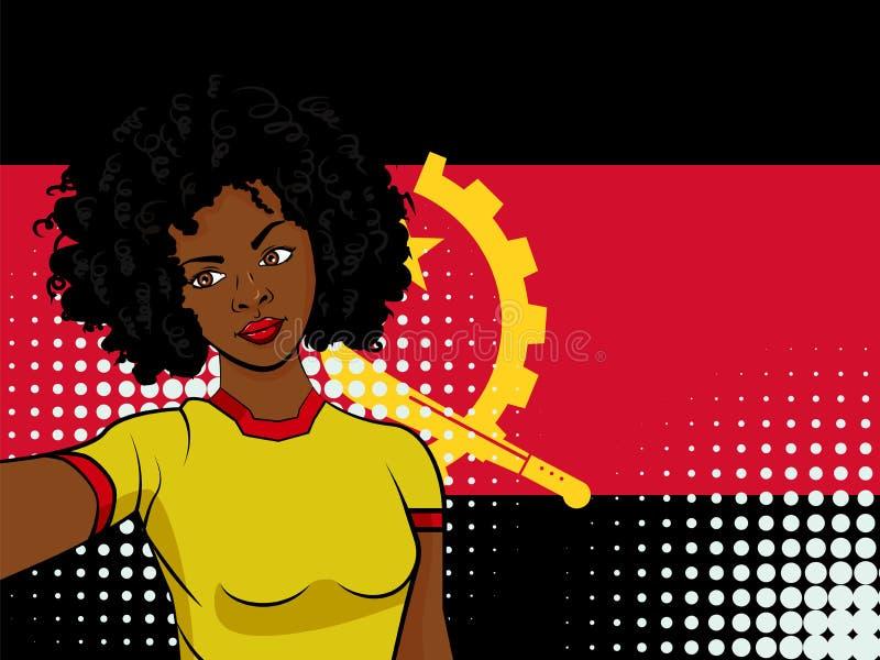 amerykanin afrykańskiego pochodzenia dziewczyna robi selfie przed flaga państowowa Angola w wystrzał sztuce projektować ilustracj ilustracji