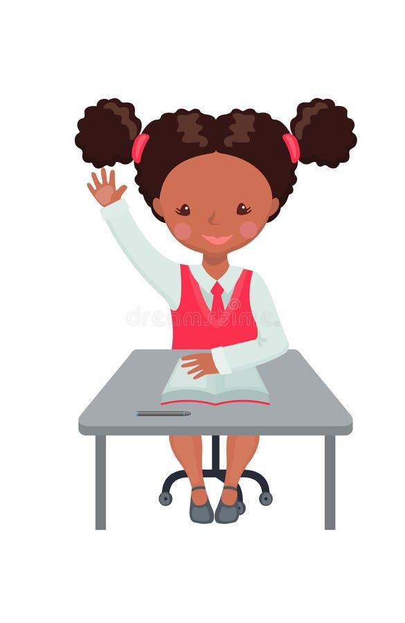 Amerykanin Afrykańskiego Pochodzenia dziewczyny dźwigania ręka dla odpowiedzi royalty ilustracja