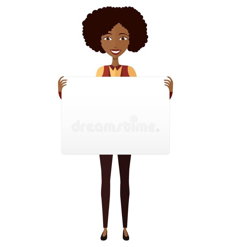Amerykanin Afrykańskiego Pochodzenia dziewczyny mienia znaka sztandar odizolowywający na bielu plecy zdjęcia stock
