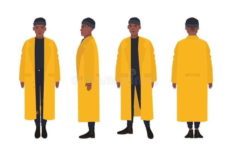 Amerykanin Afrykańskiego Pochodzenia facet ubierający w żółtym deszczowu Młody człowiek w modnym żakiecie, ulica stylu spojrzenie royalty ilustracja