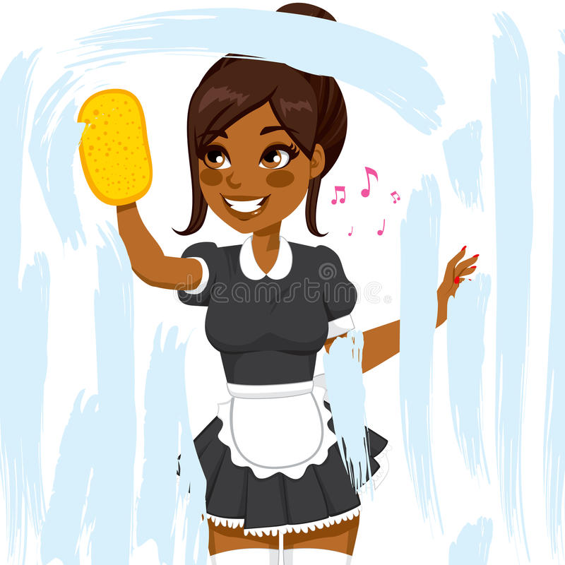 Amerykanin Afrykańskiego Pochodzenia gosposi Cleaning okno ilustracja wektor