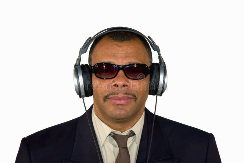 amerykanin afrykańskiego pochodzenia hełmofonów mężczyzna obraz royalty free