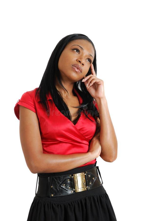 amerykanin afrykańskiego pochodzenia kobieta biznesowa myśląca obrazy stock
