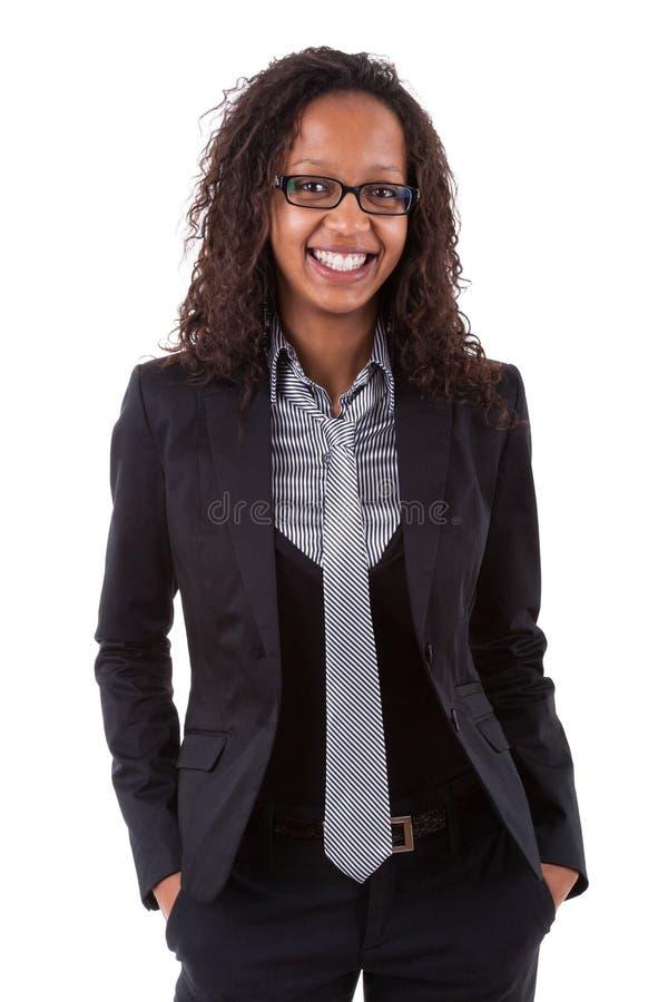 amerykanin afrykańskiego pochodzenia kobieta biznesowa uśmiechnięta zdjęcie stock