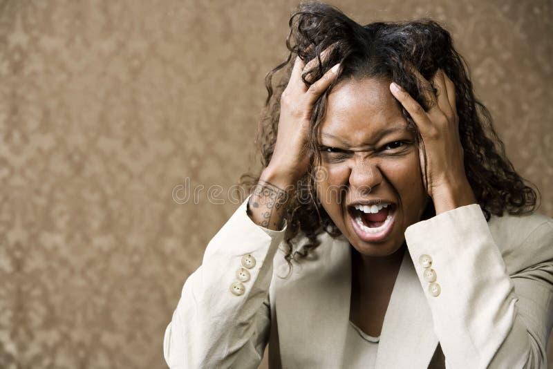 amerykanin afrykańskiego pochodzenia kobieta gniewna ładna obraz royalty free