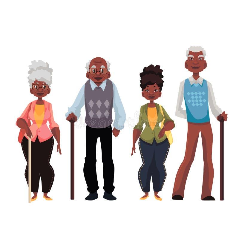 Amerykanin Afrykańskiego Pochodzenia kobieta i starzy człowiecy royalty ilustracja
