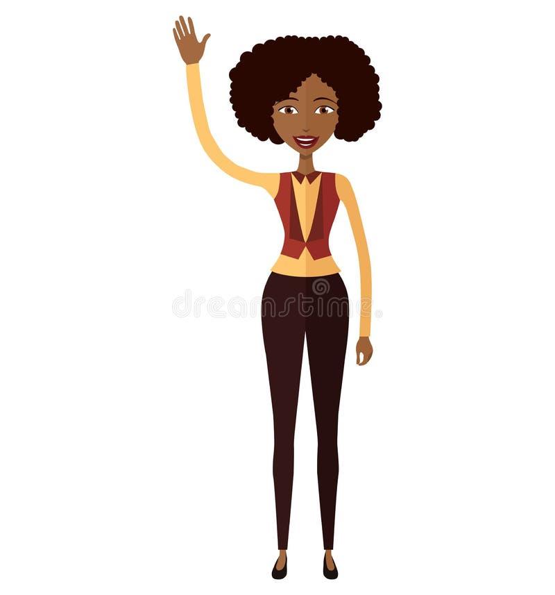 Amerykanin afrykańskiego pochodzenia kobieta macha jej ręka wektor odizolowywał o fotografia royalty free