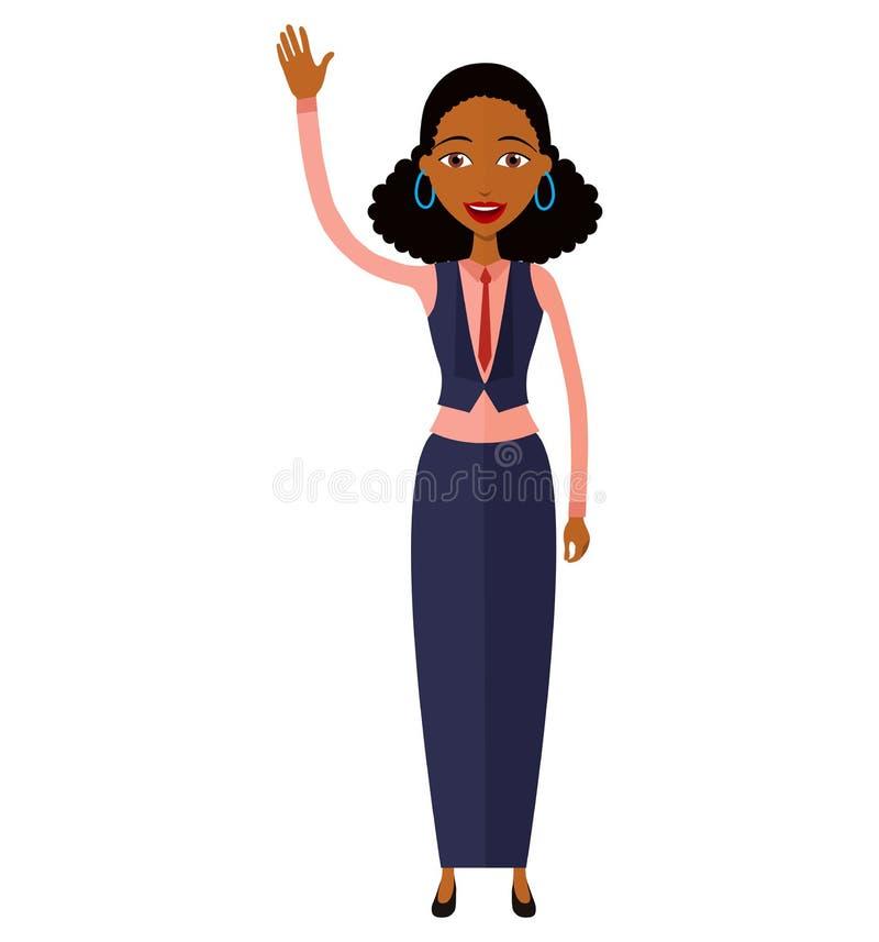 Amerykanin afrykańskiego pochodzenia kobieta macha jej ręka wektor odizolowywającego zdjęcie royalty free
