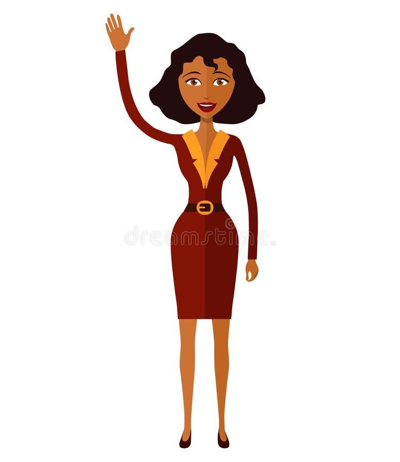 Amerykanin afrykańskiego pochodzenia kobieta macha jej ręki kreskówkę wektor obraz stock