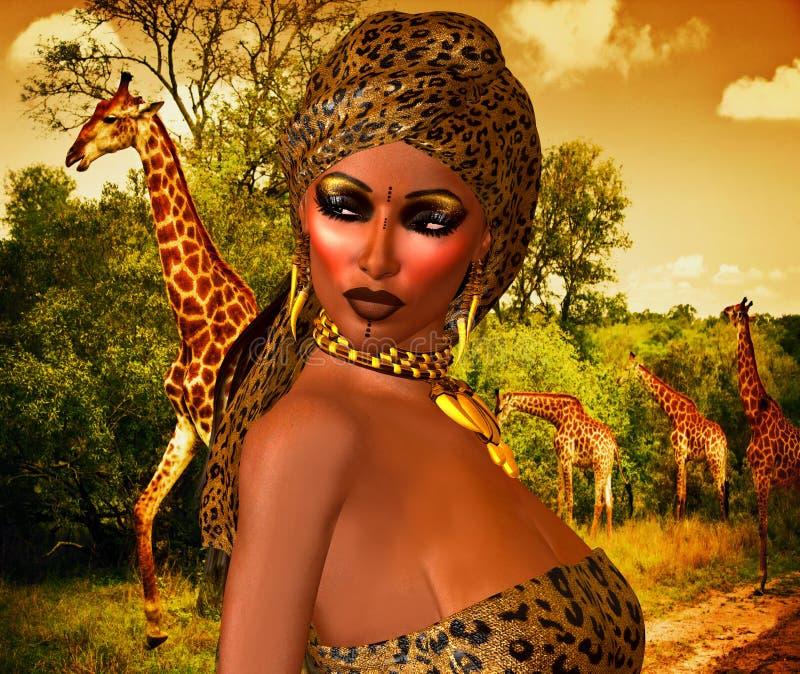 Amerykanin Afrykańskiego Pochodzenia kobieta w lamparta druku modzie z Pięknymi kosmetykami i Kierowniczym szalikiem royalty ilustracja