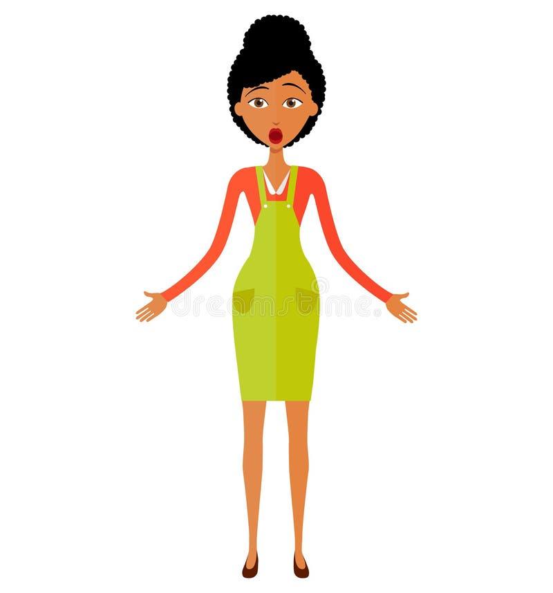 Amerykanin Afrykańskiego Pochodzenia kobieta z mądrze telefonu ilustraci wektorowym isol zdjęcie royalty free