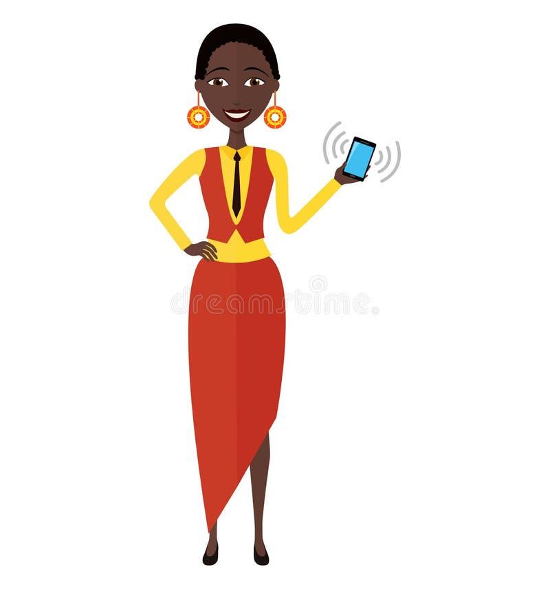 Amerykanin afrykańskiego pochodzenia kobieta z mądrze telefonu wektorem odizolowywającym na wh fotografia royalty free