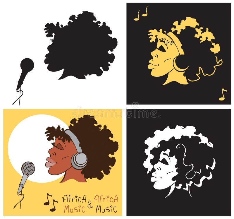 Amerykanin Afrykańskiego Pochodzenia kobiety śpiew ilustracja wektor