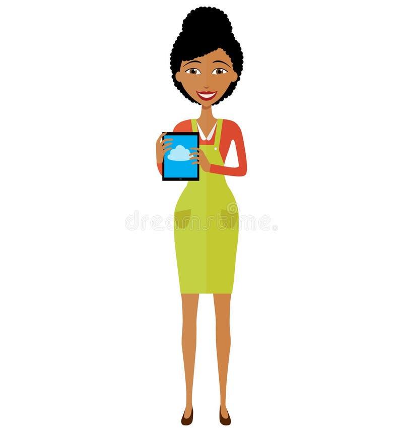 Amerykanin afrykańskiego pochodzenia kobiety charakter z pastylka wektoru ilustracją obrazy royalty free