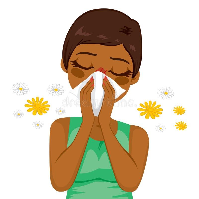 Amerykanin Afrykańskiego Pochodzenia kobiety cierpienia alergia ilustracja wektor