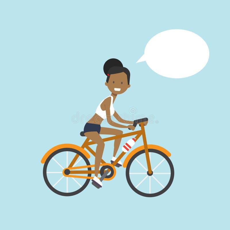 Amerykanin afrykańskiego pochodzenia kobiety kolarstwa gadki bąbla charakter folował długość nad błękitnym tła mieszkaniem royalty ilustracja