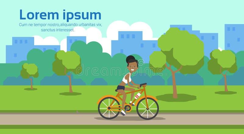 Amerykanin afrykańskiego pochodzenia kobiety kolarstwa miasta parka zieleni gazonu drzew szablonu krajobrazu tła kopii przestrzen ilustracja wektor