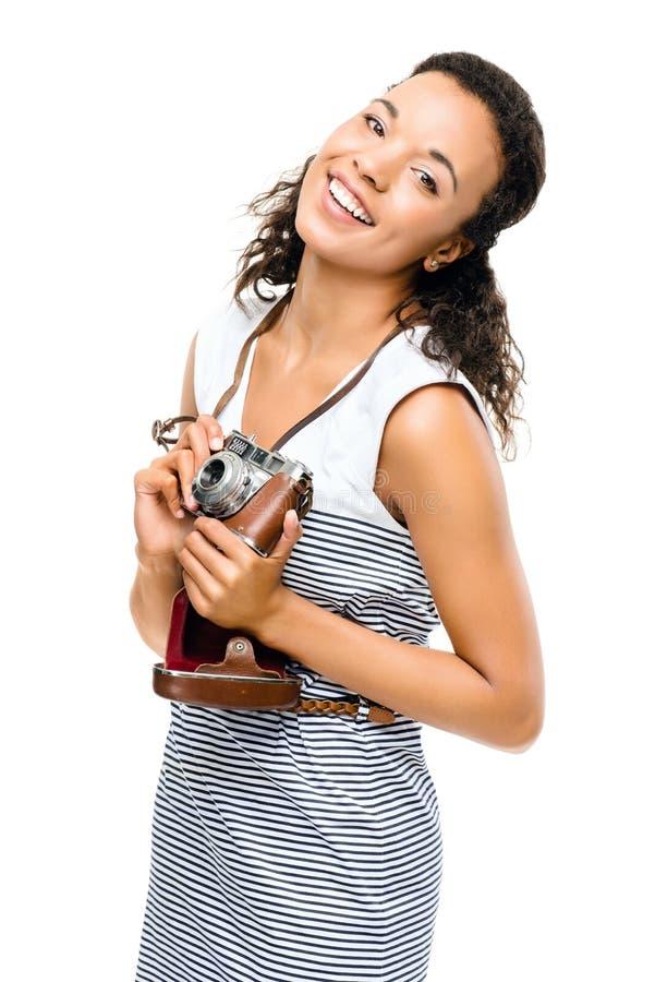 Amerykanin afrykańskiego pochodzenia kobiety photograher rocznika kamery portreta isola obraz stock