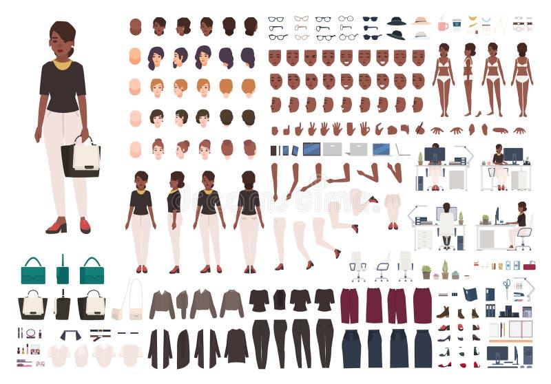 Amerykanin Afrykańskiego Pochodzenia kobiety sekretarka, kierownik, biuro asystent DIY lub animacja zestaw, Set żeńskiego charakt royalty ilustracja