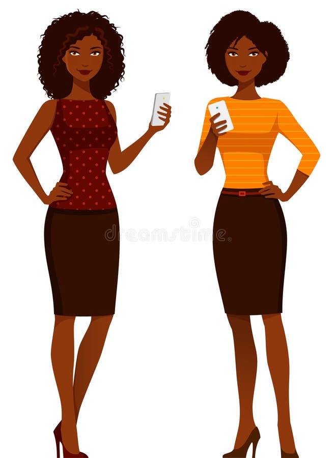 Amerykanin Afrykańskiego Pochodzenia kobiety w mądrze przypadkowych ubraniach royalty ilustracja
