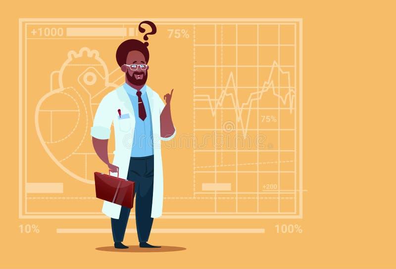 Amerykanin Afrykańskiego Pochodzenia lekarki Medycznych klinik Zmieszany Myślący pracownik Szpitalny ilustracja wektor