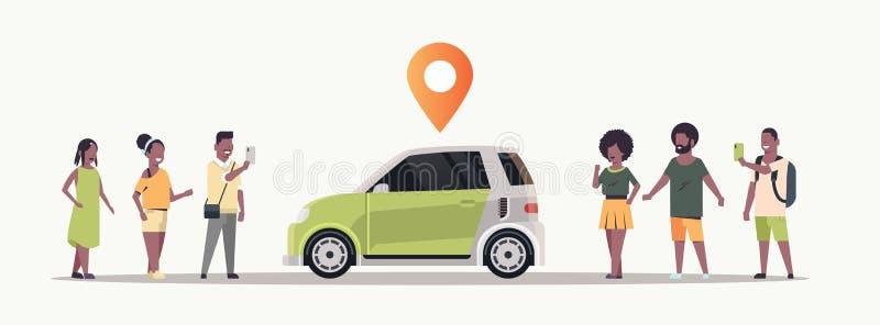 Amerykanin afrykańskiego pochodzenia ludzie używa mobilnego podaniowego rozkazuje samochód z lokacji szpilki onlinego taxi samoch royalty ilustracja